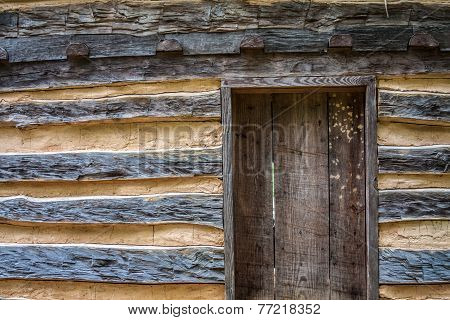 Wooden Door in Log House