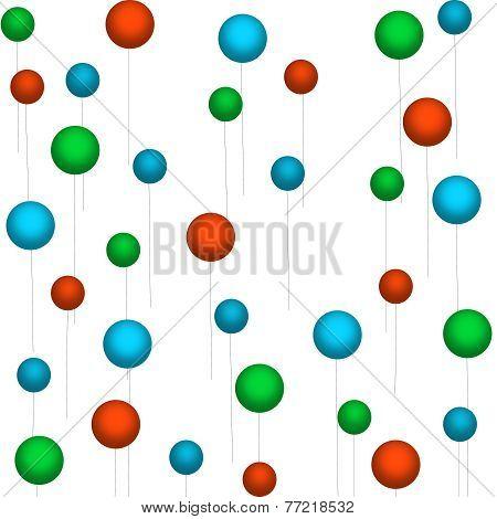 Green-Light Blue-Red Balloons on White