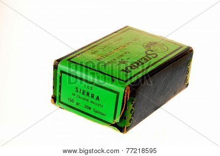 Hayward, CA - November 26, 2014: Boxcontaining 100 Sierra brand 150gr. Spitzer .30 caliber bullets