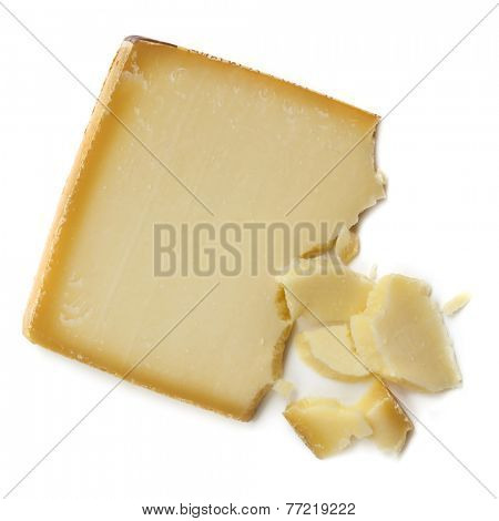 Gruyere cheese, isolated on white background.