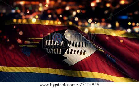 Swaziland National Flag Light Night Bokeh Abstract Background