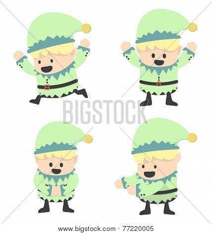 Christmas Elves And Different Poses