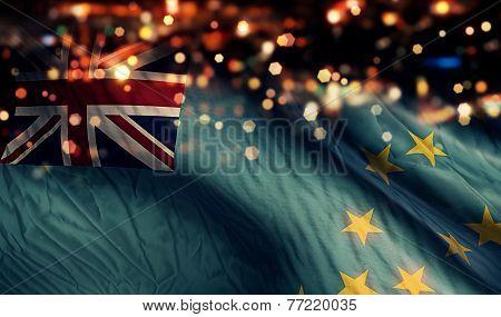 Tuvalu National Flag Light Night Bokeh Abstract Background