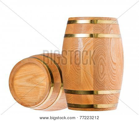two wood casks isolated on white background