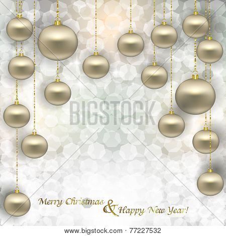 Hanging Christmas Silver Balls In Sequin On Abstract Background