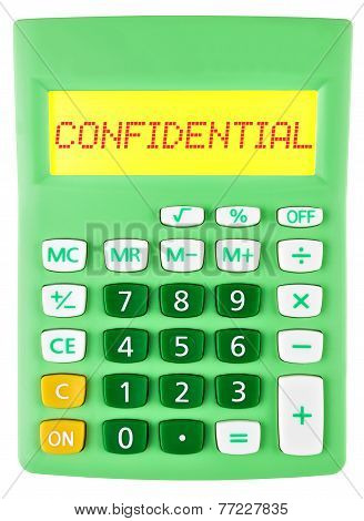 Calculator With Confidential On Display