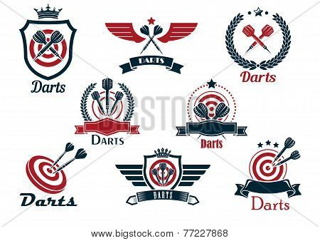 Darts heraldic sports emblems and symbols