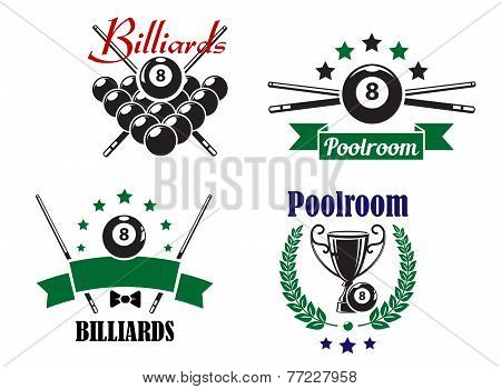 Billiards or Poolroom game badges or emblems