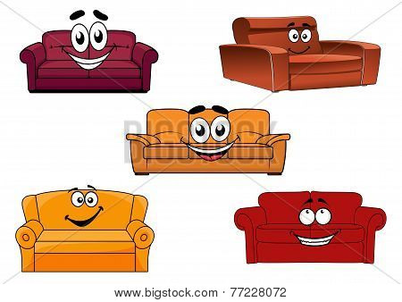Colorful cartoon sofas and couches