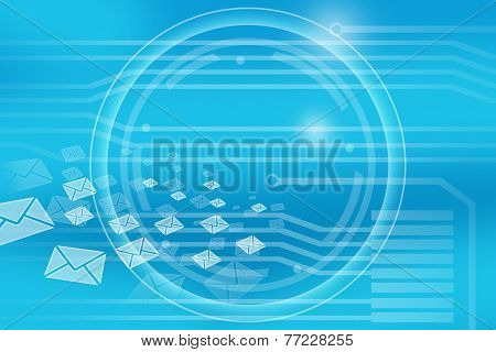 blue background in center of the circle flying envelopes.