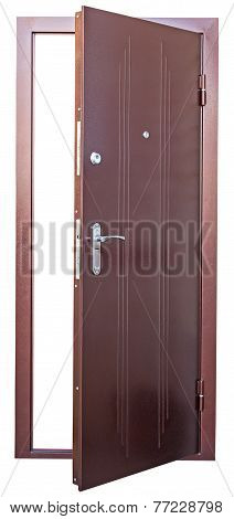 Steel Brown Doors Isolated On White Background