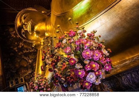 Flowers In Reclining Buddha Temple