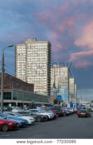 New Arbat Avenue In Evening. Moscow. Russia