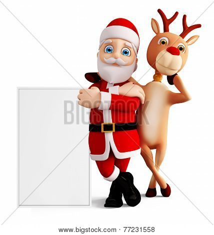 Santa And Reindeer For Christmas