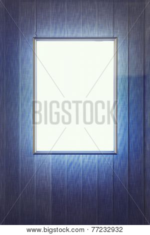 Blank advertising panel in a window
