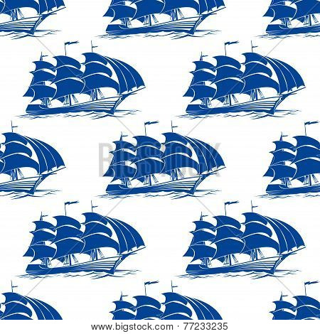Seamless pattern of a fully rigged sailing ship