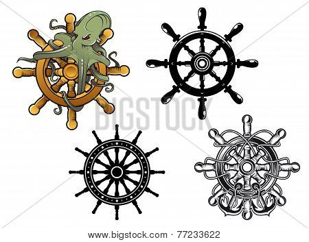 Octopus ans ship steering wheels
