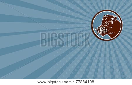 Business Card Wild Boar Razorback Head Side Circle Retro