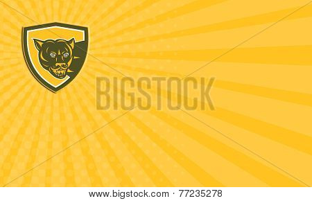 Business Card Puma Mountain Lion Head Prowl Shield Retro