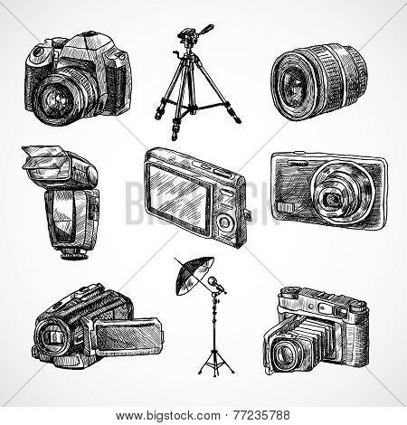 Camera sketch icons set