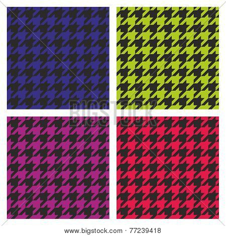Pastel vector houndstooth seamless dark pink, blue, green, violet and black pattern set