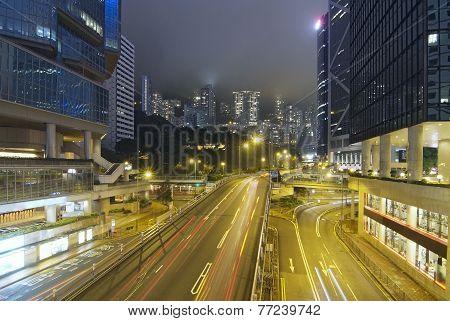 Night View Of Skyscrapers In Hong Kong