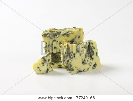pieces of Roquefort cheese