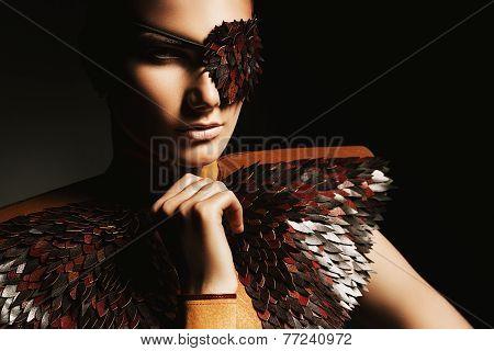 Portrait Of Woman In Leather Eyepatch