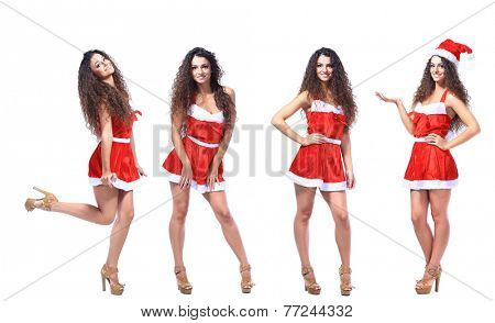 Full length woman wearing santa clothes.