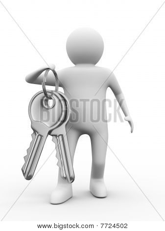 Two Keys And Man On White Background. 3D Image