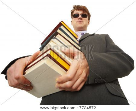 Self-satisfied Person In Black Glasses With Books