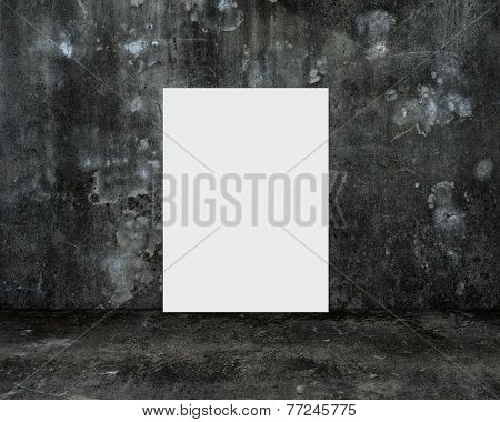 Blank White Board With Dark Old Mottled Concrete Room