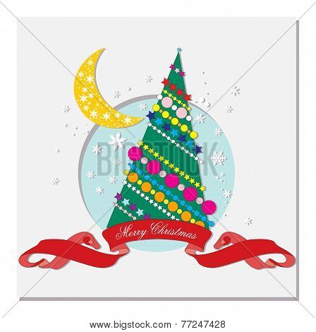 card with Christmas tree and crescent moon
