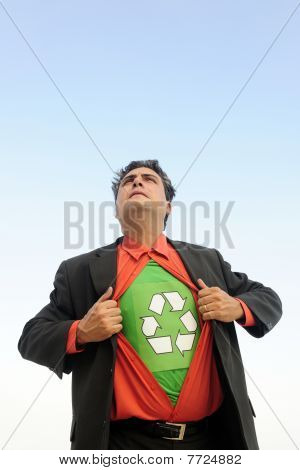 Proud To Recycle: Businessman Is A Recycling Hero