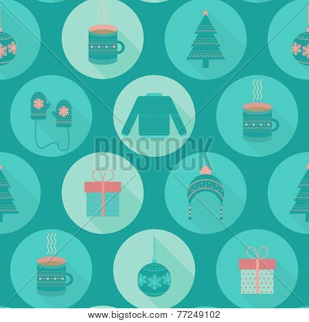 Festive Flat Christmas And New Year Seamless Pattern