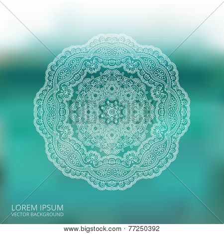Circle Lace Ornament, Mandala, Blur Background