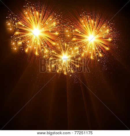 Happy New Year 2014 fireworks celebration background, easy all editable