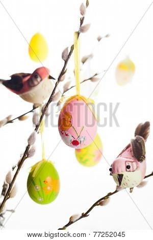Easter colored eggs and birds on  pussy willow branches
