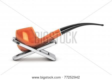 Tobacco Pipe On A Stand