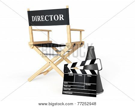 Director Chair, Movie Clapper And Megaphone