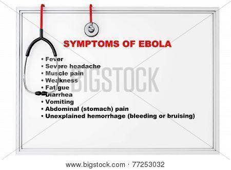Ebola Symptoms Over Whiteboard