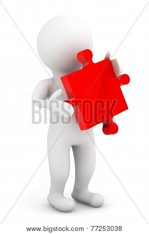 3D Person Holding A Red Puzzle