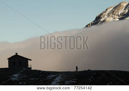 Building, Fog, Summit, And Man