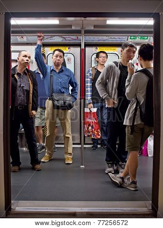 Passengers In Mtr Subway Cabin