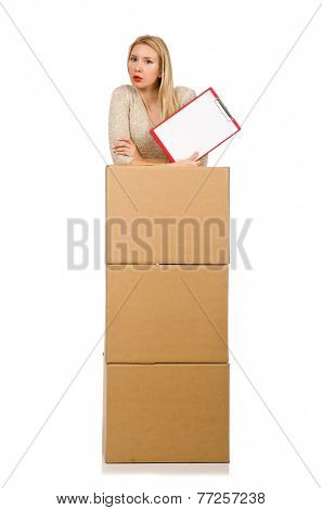 Woman with boxes relocating to new house isolated on white