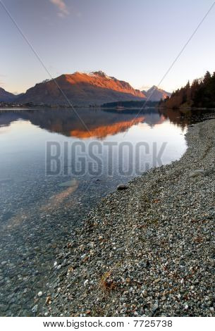 Lake Wakatipu & Mountain Reflection - Queenstown New Zealand
