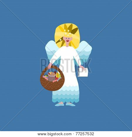 Christmas angel with book of good deeds and basket with sweets isolated on blue background