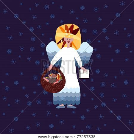 Christmas angel with book of good deeds and basket with sweets on blue background with snowflakes