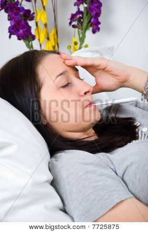Sick Woman Checking Temperature