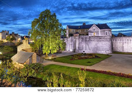 Fortified Medieval Wall Of City Vannes, France